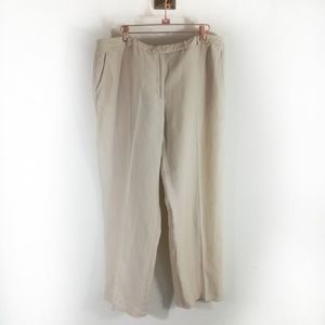 Kasper linen rayon blend wide leg tan pants